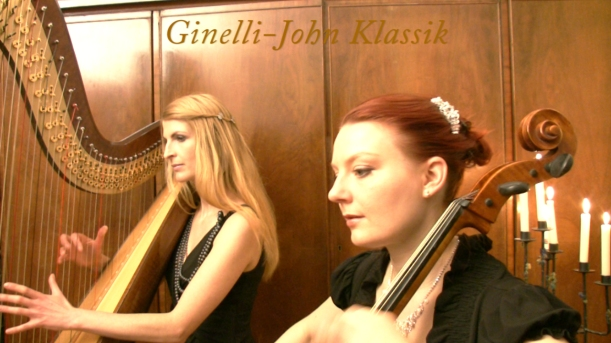 Simonetta an der Harfe- Stefanie John am Cello