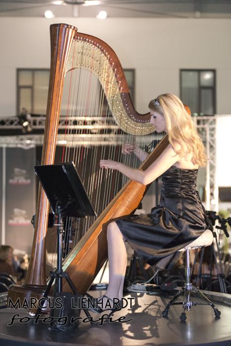 ganz konzentriert : Berliner Harfenistin Simonetta im Moa, photo by Marcus Lienhardt