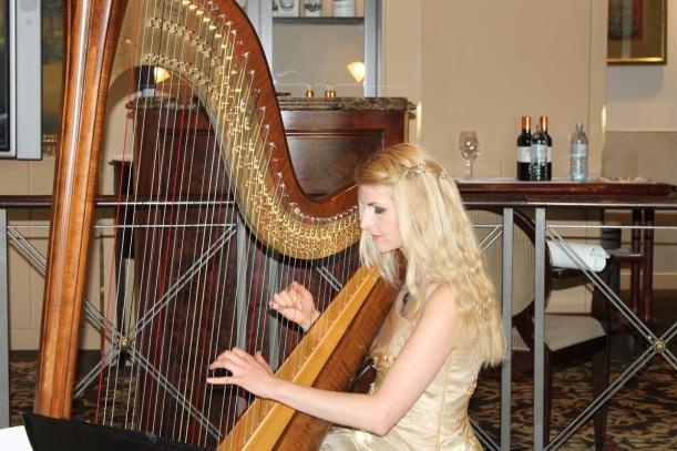 beim Zupfen an der Harfe: die Berliner Harfenistin Simonetta im Capitol Club, Danke an Frau Neumann für die Fotos!