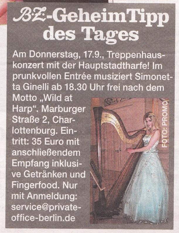 Konzert-Ankündigung in der Berliner B.Z
